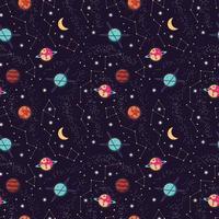 Universum mit Planeten und Sternen nahtloses Muster vektor