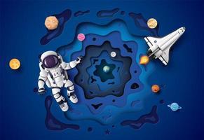 Astronaut schwimmt in der Stratosphäre.