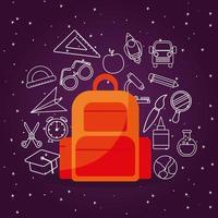 Tasche mit Symbolsatz zurück zur Schule vektor