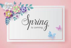 Frühlingssaison mit Blütenrahmen und Blättern. vektor