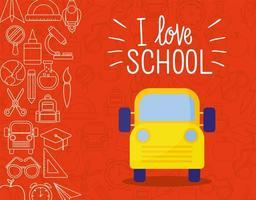 gelber Bus und Symbolsatz zurück zur Schule vektor