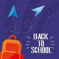 Tasche mit Papierflugzeugen von zurück in die Schule vektor