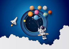 astronaut som flyter i stratosfären. vektor