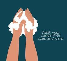 händer tvättar med bubblor design vektor