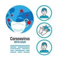 flödesschema för förebyggande av koronavirus vektor