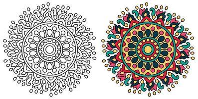 dekorativ rundad prydnadsfärgande mandala design målarbok vektor