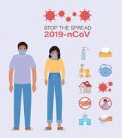 Mann und Frau mit ncov-Virusprävention 2019 vektor