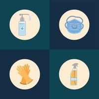 tvål dispenser alkohol sprayflaska mask och handskar vektor
