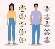 Frau und Mann mit Ncov-Virus-Symptomen 2019 vektor