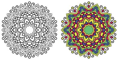 dekorativa rundade prydnadsfärgande mandala design målarbok sida vektor
