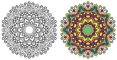 dekorative abgerundete dekorative Färbung Mandala Design Malbuch Seite vektor