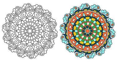 rundad dekorativ dekorativ färg mandala målarbok vektor