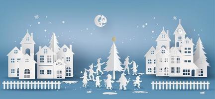 god jul och gott nytt år stad vektor