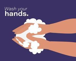 Hände waschen mit Blasen Design vektor