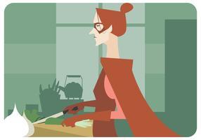 Super matlagning kvinna vektor