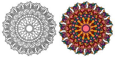 rundad dekorativ dekorativ färgläggning mandala målarbok sida vektor