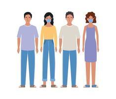 Avatar Männer und Frauen mit medizinischen Masken Design vektor