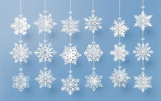 Weihnachtskarte mit Papierschnitt Schneeflocke vektor