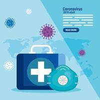 coronavirusförebyggande banner med medicinska ikoner