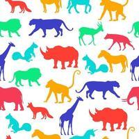 vilda djur silhuett vektor upprepa sömlös bakgrundsmönster