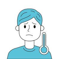 sjuk man med feber och termometer