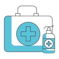 antibakteriell tvålflaska med första hjälpen-kit vektor