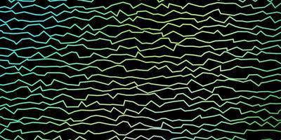 mörkblå, gul bakgrund med böjda linjer.