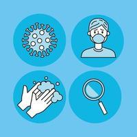 Ikonuppsättning för förebyggande av coronavirus vektor