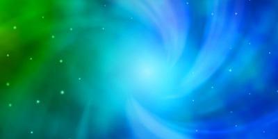 ljusblå, grön layout med ljusa stjärnor.