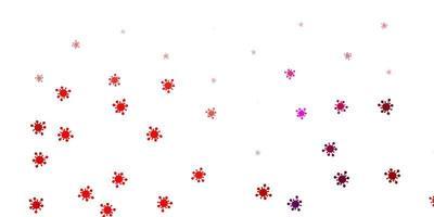ljusrosa vektor bakgrund med covid-19 symboler.
