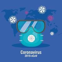 coronavirusförebyggande banner med skyddsglasögon och ansiktsmask vektor