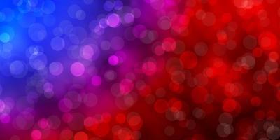 ljusblått, rött mönster med cirklar.