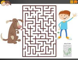 labyrint spel med tecknad pojke och hund vektor