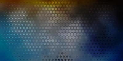 mörkblå, gul bakgrund med cirklar.