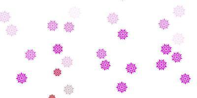 hellviolettes, rosa Layout mit schönen Schneeflocken.