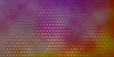 dunkelrosa, gelber Hintergrund mit Kreisen.