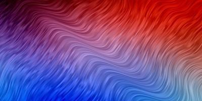 ljusblå, röd bakgrund med böjda linjer.