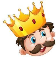 Krone auf Königskopfkarikatur lokalisiert auf weißem Hintergrund vektor