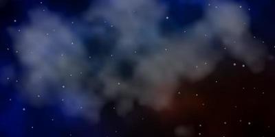 mörkblå, gul mall med neonstjärnor.
