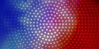 hellblaues, rotes Layout mit hellen Sternen.