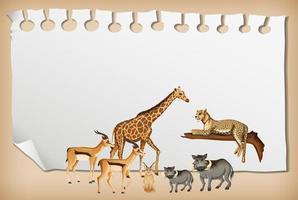 tomt papper banner med vilda afrikanska djur