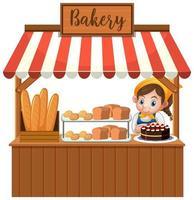 Vorderseite des Bäckereigeschäfts mit Bäcker lokalisiert auf weißem Hintergrund vektor