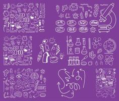 Satz gezeichneter Gekritzel der Objekt- und Symbolhand auf lila Hintergrund vektor