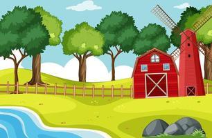 scen av ladugård och väderkvarn med många träd vektor