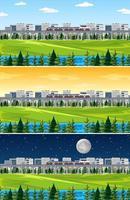 stad med naturlandskap vid olika tider på dagen vektor