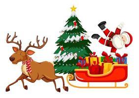 Weihnachtsmann mit vielen Geschenken auf einem Schlitten mit Rentier auf weißem Hintergrund