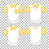 Satz von verschiedenen Hemden mit gelben Ärmeln lokalisiert auf transparentem Hintergrund