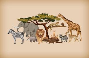 grupp vilda djur på bakgrund vektor