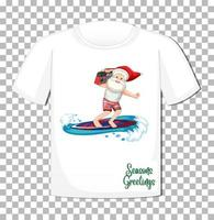 Weihnachtsmann-Karikaturfigur im Weihnachtssommerthema auf T-Shirt auf transparentem Hintergrund vektor