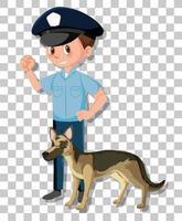 polis med schäferhund isolerad på transparent bakgrund